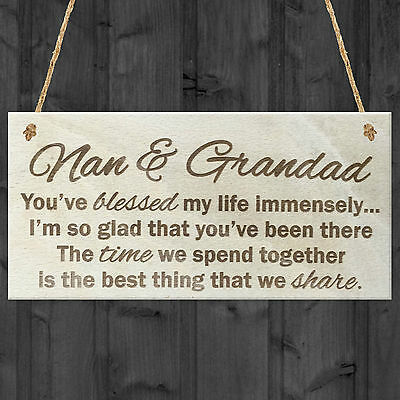 £3.99 • Buy Nan And Grandad Time That We Share Wooden Hanging Plaque Grandparents Gift Sign