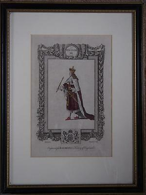 £29.99 • Buy Antique 18th Century 1783 Engraving Picture Hand Coloured King William III Frame