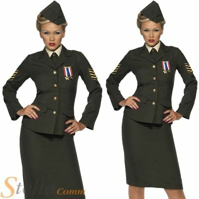 Ladies Wartime Officer Costume 1940s WW2 Army Uniform Fancy Dress Outfit 8-26 • 31.74£