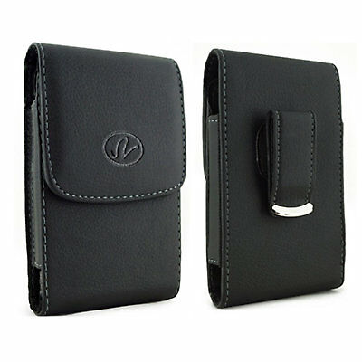 $5.75 • Buy Black Leather Holster Cover Fits W/ Snap On Case For LG Phones