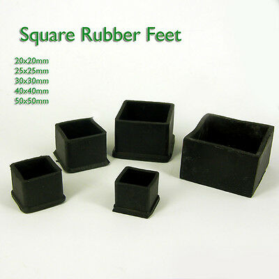 £3.95 • Buy Square Rubber Chair Table Feet Furniture  End Cover Caps 20 25 30 38 40 50 60 Mm