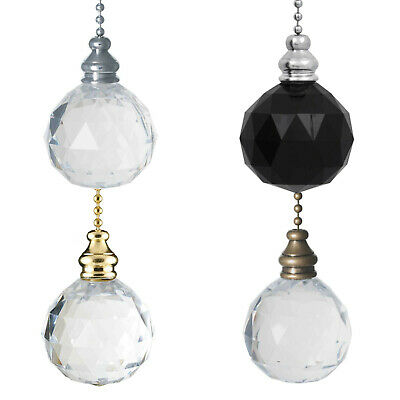 Light Pull Chain Cord Clear Crystal Ball Chrome Brass Gold Antique Choose Type • 9.99£