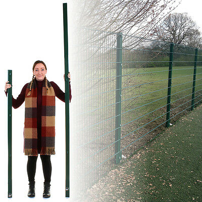 £29.99 • Buy 1.5M/2.3M Fence Post Green Square Round Steel Metal Fencing Stake Powder Coated