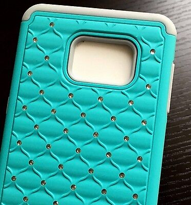 $ CDN10.60 • Buy Samsung Galaxy S6 Edge Plus - HARD & SOFT RUBBER HYBRID DIAMOND BLING CASE BLUE
