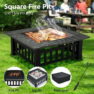 Outdoor Fire Pit BBQ Firepit Brazier Garden Square Table Stove Patio Heater 81cm • 83.99£