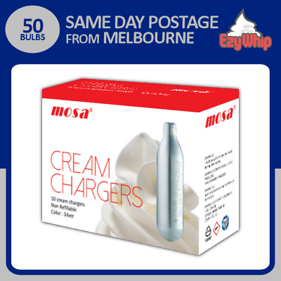 AU39.95 • Buy 50 Bulbs Mosa Cream Chargers 10 Pack X 5 Whipper Nitrous Oxide Whipped