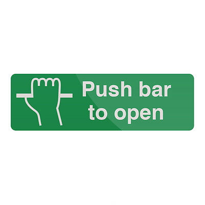 £4.59 • Buy Push Bar To Open Sign 300 X 100mm Self-Adhesive  Signage Safety Signs