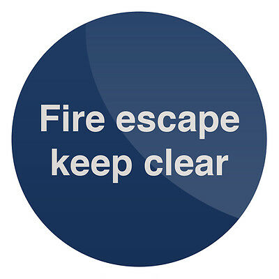 Fire Escape Keep Clear Sign 100 X 100mm Self-Adhesive  Signage Safety Signs • 3.09£