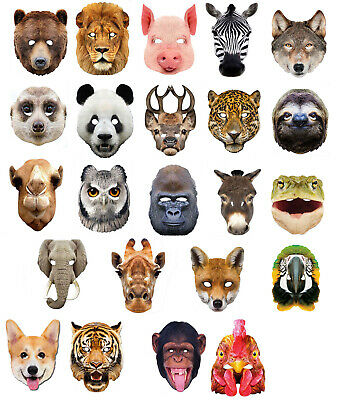 Animal 2D Card Party Masks Mask Zoo Farm Halloween Fancy Dress Jungle Costume • 3.29£