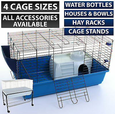 Rabbit Guinea Pig Pet Cage Hutch Indoor Cages Water Bottle House Accessories • 39.99£