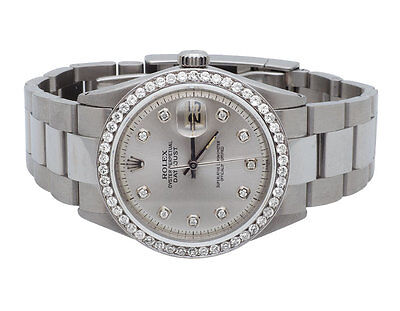 $ CDN8445.46 • Buy Mens Stainless Steel Rolex Datejust Oyster 36 MM Silver Dial Diamond Watch 2.5Ct