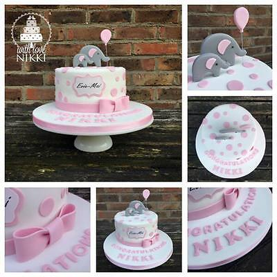 Edible BABY ELEPHANT BALLOON  DOTS PLAQUE BOW Shower Christening Cake Topper • 5.99£