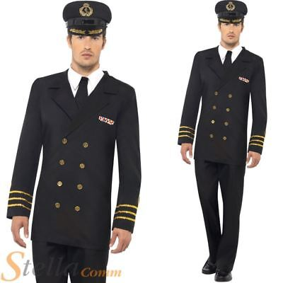 Mens Black Navy Officer Army Military Captain Fancy Dress Costumes + Hat • 28.99£
