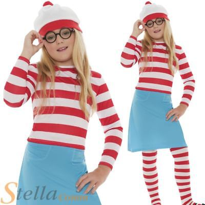 £18.49 • Buy Girls Wenda Costume Wheres Wally Fancy Dress Book Day Child Outfit
