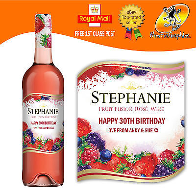 £3.10 • Buy Personalised Rose Wine Bottle Label Birthday Any Occasion Gift