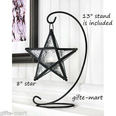$24 • Buy Black Moroccan Country Western STAR Candle Holder Lantern Light Terrace Outdoor