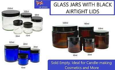 Glass Jars Empty BLACK LID Aromatherapy Cosmetics Cream AMBER GREEN BLUE CLEAR  • 12.99£
