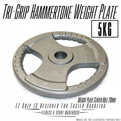 AU55 • Buy 2x5KG Standard Solid Cast Iron Hammertone Weight Plate 28mm Weightlifting