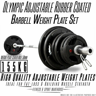 AU757 • Buy 155KG Olympic Bar Weights Set 7ft OLY Barbell Rubber Coat Weight Plates Solid