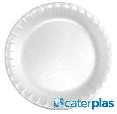 """£6.99 • Buy White Disposable Polystyrene Plates 7"""" 9"""" 10"""" Foam Party Wedding Catering Pactiv"""