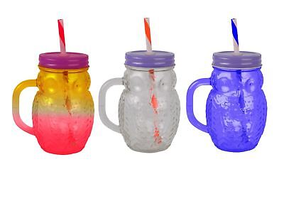 Owl Glass Drinking Jar With Screw Lid And Straw.  Set Of 3 • 8.99£