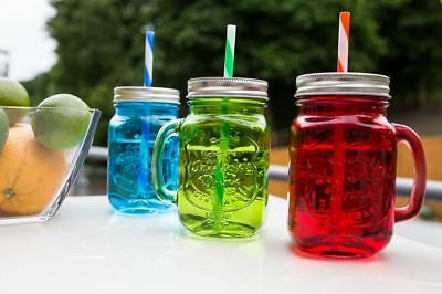 Coloured Glass Drinking Jars With Screw Lid And Straw.  Set Of 3 • 8.99£