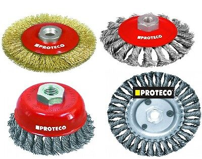 Rotary Steel Wire Brush Crimp Bevel Wheel Cup Twist Angle Grinder 115 100 65 Mm • 6.99£