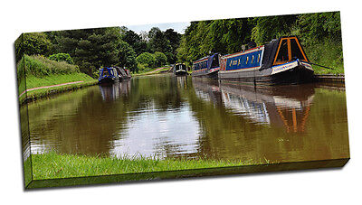 £28.95 • Buy Canal Canvas Print Audlem Nantwich Cheshire Narrow Boat Framed Picture  British