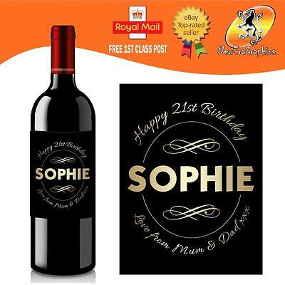 £3 • Buy Personalised Red White Rose Wine Bottle Label Birthday Any Occasion Gift