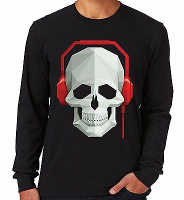 Velocitee Mens Long Sleeve T-Shirt Skull & Headphones DJ Rave Festival Music V7 • 12.25£