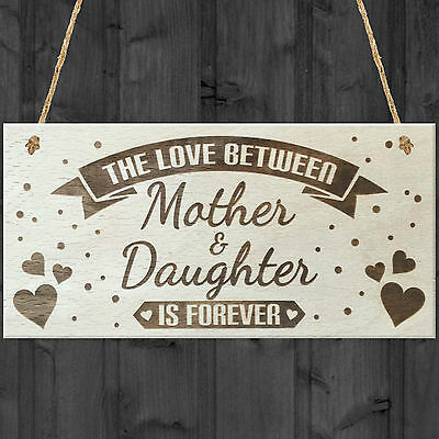 £3.99 • Buy Mother & Daughter Love Is Forever Shabby Chic Wooden Hanging Plaque Gift Sign