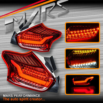 AU459.99 • Buy Clr Red 3D Stripe Bar Tail Lights & LED Indicators For Ford Focus LZ Hatch 15-18