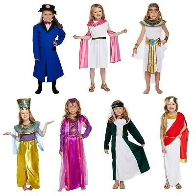 Girls Fancy Dress Up Child Costume Egyptian Roman Greek Victorian Tudor Age 4-12 • 11.83£