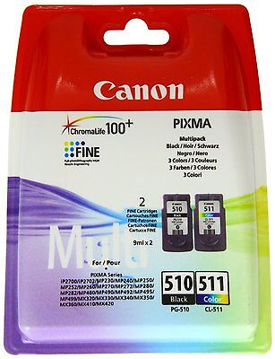 Original Canon PG510 Black & CL511 Colour Ink Cartridge For PIXMA MP250 MP270 • 33.99£