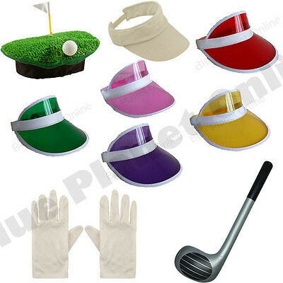 Pub Golf Golfer Golfing Visor Hat Club & Gloves Fancy Dress Hen Stag Night • 3.99£
