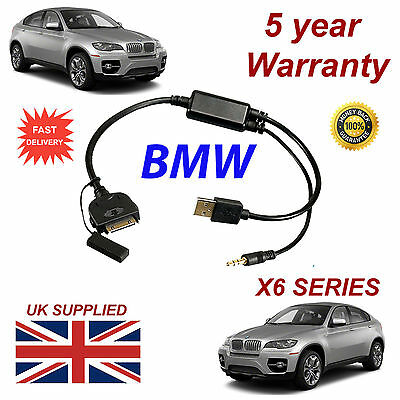 BMW X6 Series (611204407) For Apple 3GS 4 4S IPhone IPod USB & 3.5mm Aux Cable • 9.95£