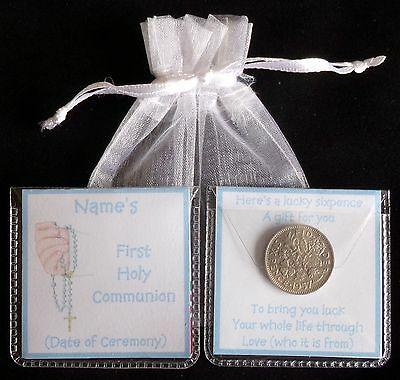 Personalised Boys First Holy Communion  Gift Lucky Sixpence Keepsake 9 Designs • 2.25£