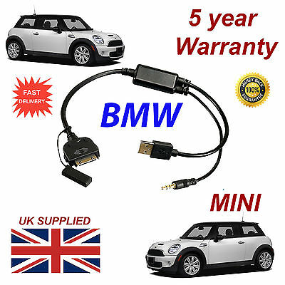 BMW MINI (611204407) For Apple 3GS 4 4S IPhone IPod USB & 3.5mm Aux Cable • 9.95£