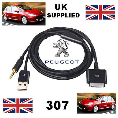 Peugeot 307 IPhone IPod 3.5mm USB & Aux Cable Replacement • 9.95£
