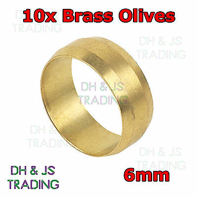 £2.29 • Buy 10x Brass Compression Olives 6mm - Plumbing Barrel Olive 6 Pipe Fitting