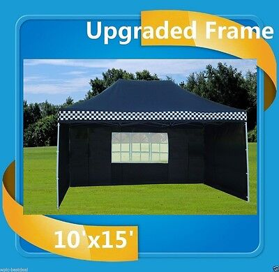 $269.99 • Buy 10'x15' Pop Up Canopy Party Tent EZ - Black Checker - F Model Upgraded Frame