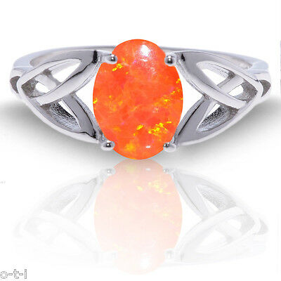 £40.96 • Buy Mexican Orange Fire Opal Infinity Celtic Oval Birthstone Sterling Silver Ring