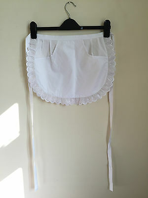 £4.99 • Buy White Waitress Maid Kitchen Restaurant Cooking Half Pinny Apron With Pocket
