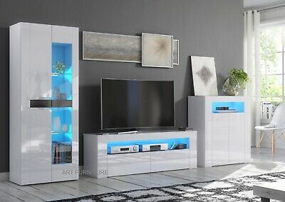 £199.90 • Buy Gloss White TV Cabinet Cupboard Unit Stand Sideboard Display Modern LED Lights