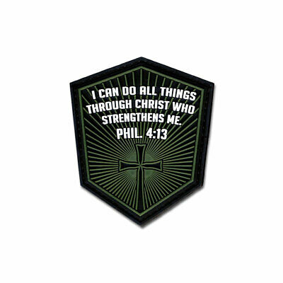 $6.99 • Buy Tactical Combat Jacket Morale Patch Badge PVC Hook And Loop - Phil. 4:13 Green