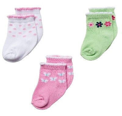£7.09 • Buy Gerber Girl 3-Pk Ankle Bootie Socks Pink Butterfly Green Flowers 0-3M BABY GIFTS