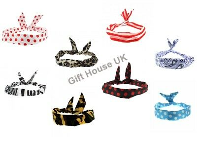 £2.75 • Buy Wire Headbands Flower Print Retro Wired Head Scarf Twisted Vintage Hair Band UK