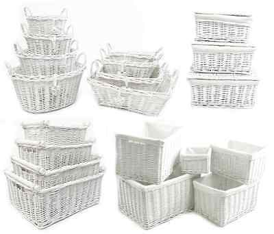 Shabby Chic White Wicker Log Big Deep Oval Rectangl Lidded Hamper Storage Basket • 8.99£
