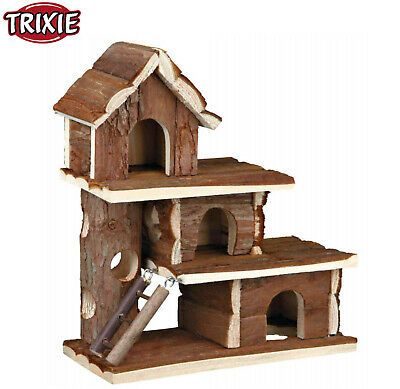 Trixie Natural Tammo Wooden Mouse Hamster Cage House Den Ladders 3 Storey 61708 • 16.99£