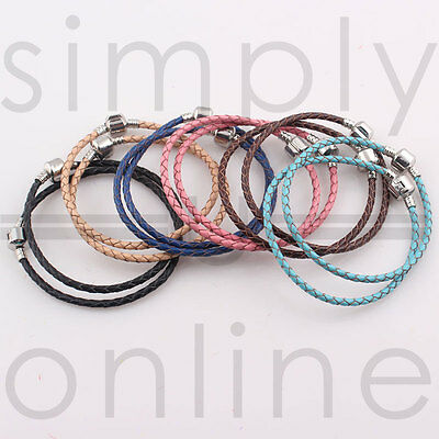 Real Leather Braided Charm Bracelet With Silver Plated Clasp… • 2.09£